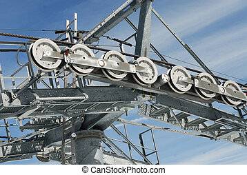 Chairlift mechanical pulleys in ski resort
