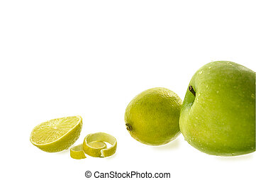 Apples and lemons on the white isolated background