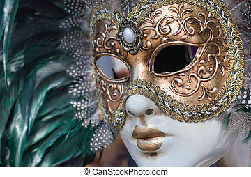 venice mask with green and gold