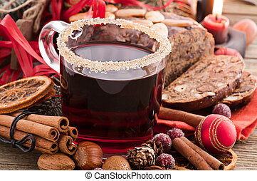 Hot wine with decoration