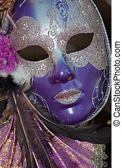 purple and silver venice carnival mask