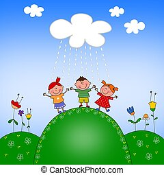Dancing in the rain - Cartoon characters Colorful graphic...