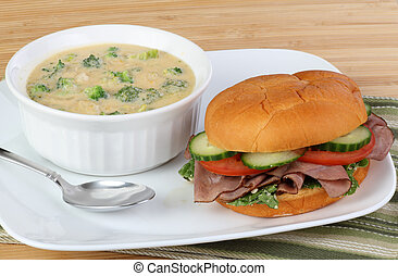 Roast Beef Sandwich and Soup - Roast beef sandwich with...