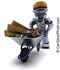 Robot builder with a wheel barrow carrying tools - 3D render...