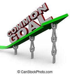 comum, meta, -, equipe, pessoas, elevador, crescimento, Seta
