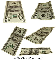 Set photo $100 dollar bills isolated on white background