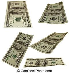Set photo $100 dollar bills isolated on white background
