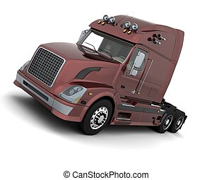American sem -truck - 3D render of a white American...