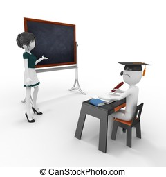 3d classroom with teacher and pupil isolated on white