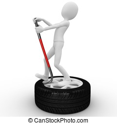 3d man fixing a tire isolated on white