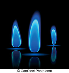 Gas flame - Vector illustration of a gas flame on black