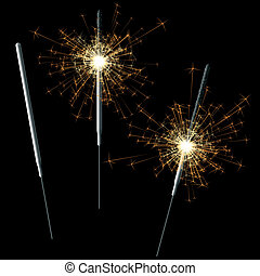 Sparklers on black - Detailed vector illustration of...