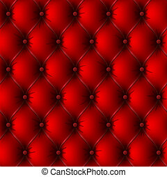 Old red leather upholstery - Seamless vector illustration of...