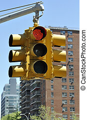 Red Traffic Light in Manhattan - Stock photo of a traffic...