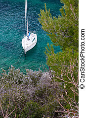 yacht boat in calanques - yacht boat docked in the calanques...