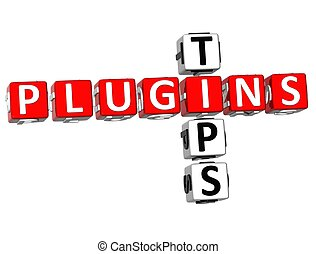 Plugin Tips Crossword - 3D Plugin Tips Crossword on white...