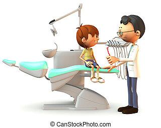 漫画, 男の子, 訪問, 歯科医