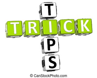 Trick Tips Crossword - 3D Trick Tips Crossword on white...