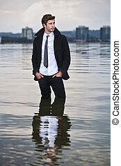 Wet feet - concept of young businessman or entrepreneur...