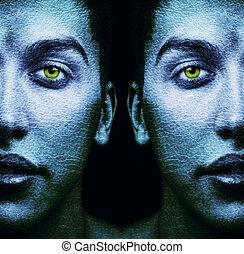 Textured, faces, Surréaliste, mâle, jumeaux