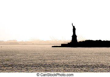New York Harbor - New York harbor on a hazy day with a...
