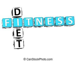 Fitness Diet Crossword - 3D Fitness Diet Crossword on white...