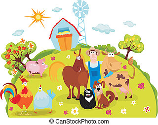 farm - vector illustration of a cute farm