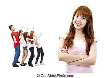 Asian girl and happy young group