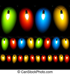 Hanged Christmas lights on black - Seamless vector...