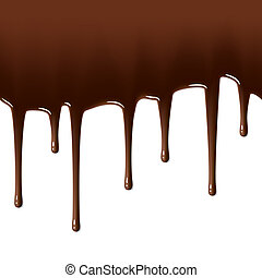 Melted chocolate dripping - Seamless vector illustration of...