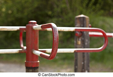white and red turnstile