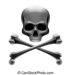 Skull with bones - Jolly Roger - Vector illustration of a...