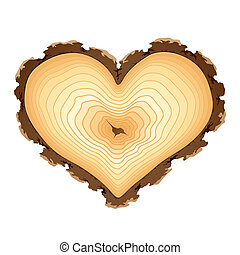Wooden heart shape - Vector illustration of a wooden cross...