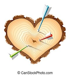 Wooden heart shape with arrows