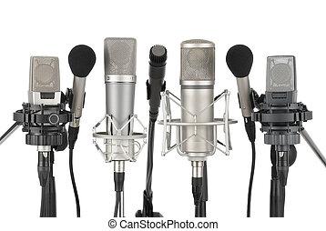 fila, sete, microfones