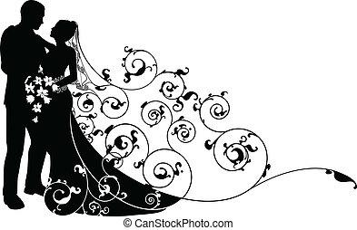 sposa, sposo, fondo, modello, silhouette