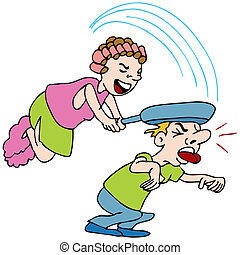 Woman Hitting Man With Frying Pan - An image of a woman...