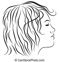 Female Head Profile Line Drawing - An image of a satellite...