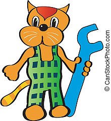 cat with spanner