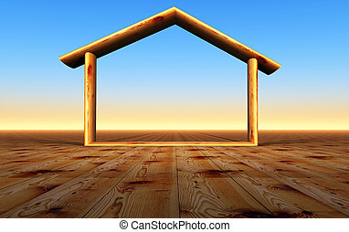 wood house - a 3 d representation of a wood house