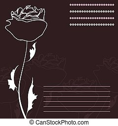 Rose - White rose on a brown background A vector...