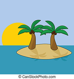 Tropical island - Cartoon illustration of a tropical island...