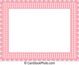 Gingham Frame - Gingham patterned frame with scalloped...