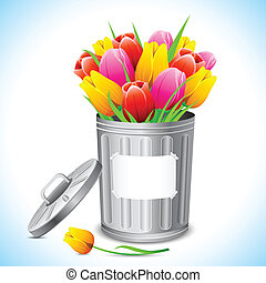 Clean Earth - illustration of trash bin filled with tulip...