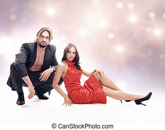 Glamour style photo of attractive couple