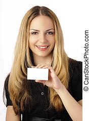 Holding a membership card
