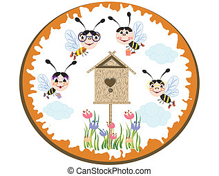 Summer icon,bees