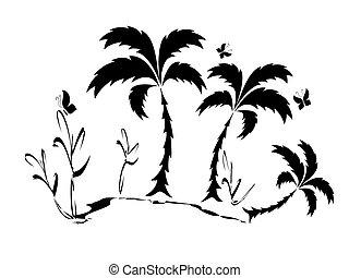 Palm tree,silhouette