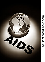 AIDS - globe, concept of Global AIDS spread and Prevention