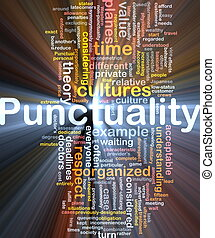 Punctuality background concept glowing - Background concept...